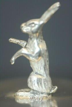Antique Russe Sterling 84 Impérial Russe Chasse Egg Figural Lapin Signé