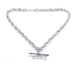 Antique Silver Albert Chain & T Bar 925 Multi Liens 52.3g