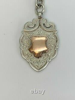 Antique Silver Double Chaîne Heavy Albert Avec Argent Fob Avec 9ct Gold Shield