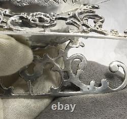 Antique Silver Sleigh Sugar Bowl Sel Soucoupe Vaisselle Sledge Creamer Sled Vintage