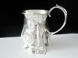 Antique Silver Tankard Tasse Coupe, Hilliard & Thomason, Birmingham 1856