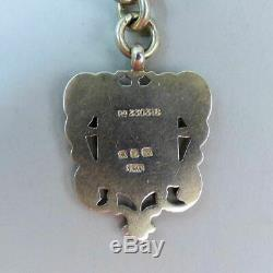 Antique Silver Victorienne Double Clip Montre De Poche Albert Chain & Fob 52g