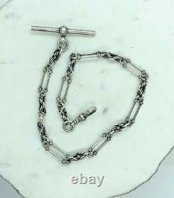 Antique Solid Silver Albert Pocket Watch Chaîne T Dog Bar Clip Sterling Twisted