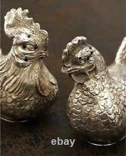 Antique Solid Silver Français Allemand Novelty Salt Pepper Chicken Rooster Figure
