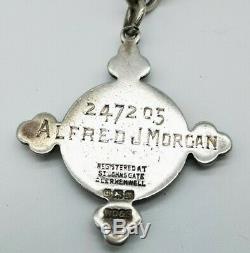 Antique Sterling Argent Double Albert Montre Chaîne & Grande Fob Médaille C. 1919