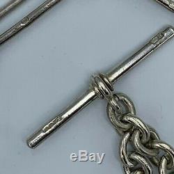 Antique Sterling Argent Trombone Single Link Albert Montre Chain & T-bar # 610
