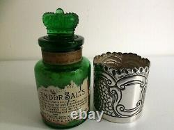 Antique Sterling Argent - Verre Vert Sels De Lavande Bouteille Birmingham 1903