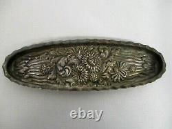 Antique Theodore B Starr Sterling Silver Repousse Fleurs Vanity Pin Tray