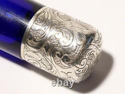 Antique Top Quality Verre Bleu Monté Argent Double Bouteille Scent Fine #t202b