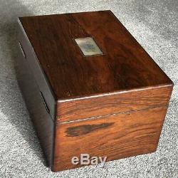 Antique Vanity Case Dressing Boîte Poinçonnés Argent 1840. Victorienne Tiroir Secret