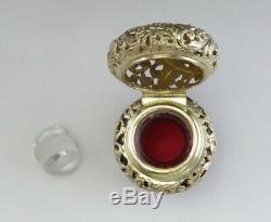Antique Victorian 1893 Argent Sterling Ruby Rouge Verre Parfum / Bouteille Cologne