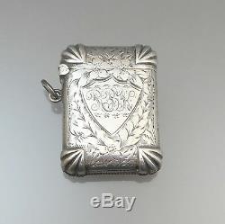 Antique Victorian 1898 P & S English Argent Sterling Match Vesta Safe Case Holder