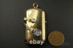 Antique Victorian 18k Gold Diamond & Star Sapphire Match Safe / Vesta Case C1891