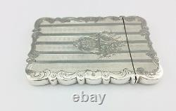 Antique Victorian Bright Cut Solid Sterling Silver Card Case 1853