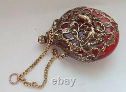 Antique Victorian Cranberry Gold Guilded Chatelaine Scent Parfum Bouteille C1880s
