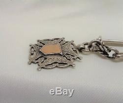 Antique Victorian Double Albert Montre Chaîne & Fob Sterling Silver-62.6g Inhabituelle :