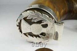 Antique Victorian Écossais Horn & Argent Thistle Snuff Mull / Tabatière