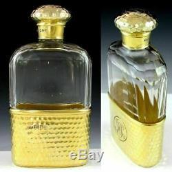 Antique Victorian English Gilded Verre En Argent Sterling Liqueur Whisky Flasque