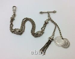 Antique Victorian Fantaisie Albertina / Albert Pocket Watch Chain & Tassel Fob T-bar