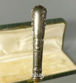 Antique Victorian Français Sterling Silver Gilt Asparagus Server Serving Spoon