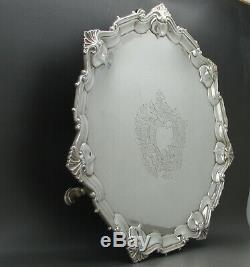 Antique Victorian Qualité Fine En Argent Massif Salver 27.2cm Londres 1894
