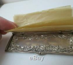 Antique Victorian Repousse Argent Sterling Timbre Cire Case Papier Pages