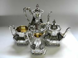 Antique Victorian Silver 4 Piece Tea Set Londres 1852/3 Incl Cafetière
