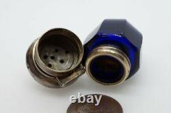 Antique Victorian Silver Bristol / Cobalt Blue Glass Vinaigrette Scent Bottle