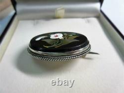 Antique Victorian Solid Silver Pietra Dura Hardstone Brooch, Pin