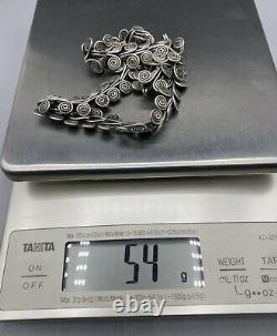 Antique Victorian Solid Sterling Silver Décoratif Collier Pivotant Choker 54g