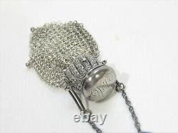 Antique Victorian Sterling Silver Accordéon Coin Chatelaine Purse