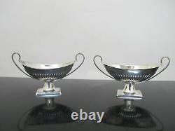 Antique Victorian Sterling Silver Atkin Sheffield 4pc Open Salt Cellar Bowls