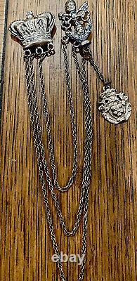 Antique Victorian Sterling Silver Crown Crest Châtelaine 32g Beautiful Piece