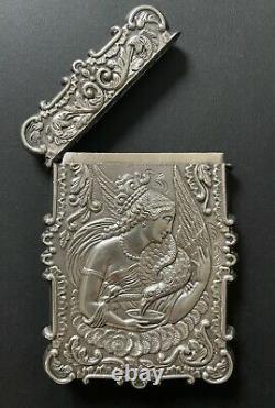Antique Victorian Sterling Silver Hebe Eagle Calling Business Card Case Holder