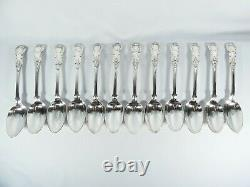Antique Victorien 88pc 12 Douze Place Sterling Silver Couverts Set Rois Pattern