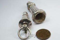 Antique Victorien Anglais Argent Sterling Militaire Beaufort Whistle & Case C1882