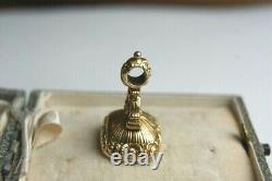 Antique Victorien D'or Cased Cornaline Paraphé Sceau Pendentif Montre Fob Charm