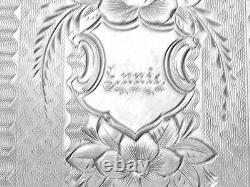 Antique Victorien Daté De 1870 Enlish Solid Silver Calling Case Gravé Annie