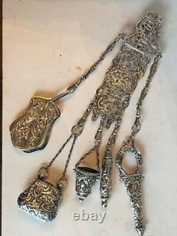 Antique Victorien Sterling Silver Couture Chatelaine 9 En. 117 Grammes Superbe