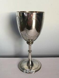 Antique Victorienne En Argent Massif Gravé Goblet 1875