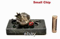 Antique Victorienne En Argent Massif Grenade Marbre Paperweight Papier Poids