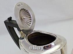 Antique Victorienne En Argent Massif Moitié Cannelée Teapot Londres 1898