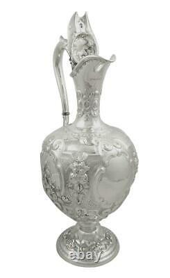 Antique Victorienne En Argent Sterling Vin Aiguière / Claret Jug 1879
