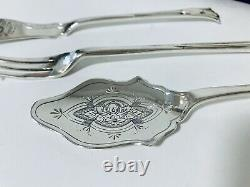 Antique Victorienne Solide Sterling Silver Jam Spoon Butter Knife Pickle Fourche Set