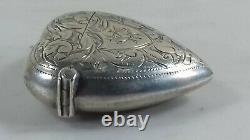 Antique Victorienne Sterling Silver Heart Vesta Case 1897
