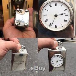 Antique Vintage Ou Miniature En Argent Massif 925 Horloge Transport Londres Importation Mark