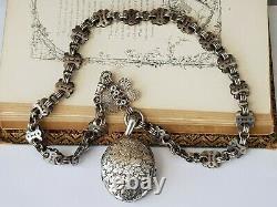 Antique-victorienne-ornée En Argent Massif Chunky Link Belcher Chain & Locket-c1900