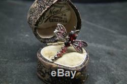 Antiques Victorienne En Argent Massif Et Grenat Libellule Insectes Bug Broche / Broche