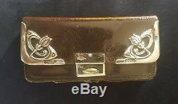 Antiquité Victorienne 1903 Sterling Silver Portefeuille En Cuir Bourse Porte-monnaie Timbre