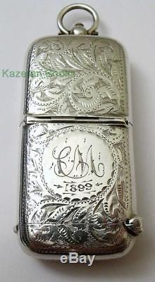 Antiquité Victorienne Chaîne En Argent Massif Albert Sovereign Coin & Vesta 1899
